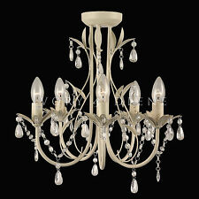 GLASS CRYSTAL CHANDELIER PENDANT 5 LIGHT CHIC FRENCH PROVINCIAL Ceiling Lamp NEW