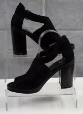 New Look Black Women's Suedette Ankle Strap Block Heels Casual Shoes Size 6 VGC