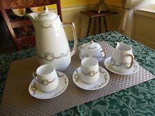 8 Piece Antique Silesia Alice Porcelain Chocolate/Coffee Pot