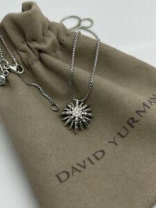 David Yurman Sterling Silver Small 16mm Starburst Diamond Pendant Necklace