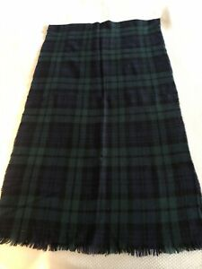 Black Watch Plaid Merino Wool Scarf, Made In Scotland, Saks Fifth Ave.