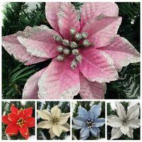 Artificial Fabric Flower Poinsettia Christmas Tree Ornaments Wedding Party Decor