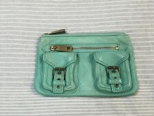 Marc Jacobs turquoise leather clutch bag chunky zips
