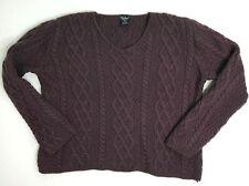 Paul James England Sz Medium Plum Purple Wool Sweater Womens Chunky Cable Knit