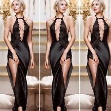 Sexy women charming deep V chest  sexy nightgown home high-slit long dress HOT o