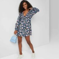 Women's Long Sleeve Dress - Wild Fable Navy Floral XXL, Blue Floral