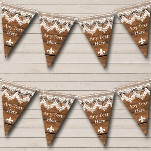 Rustic Wood & Lace Personalised Engagement Bunting Party Banner