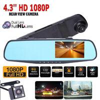 "HD 1080P 4.3"" Dual Lens Car DVR Rear View Mirror Dash Cam Video Camera Recorder"