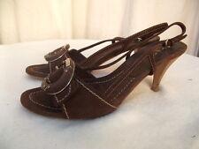 escarpins sandales PRADA VEAU VELOURS marron p 37,5 FR (37 Ital) EXC ETAT