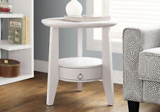 """Monarch Specialities Accent Table - 23""""Dia / White With 1 Drawer (I-2492)"""