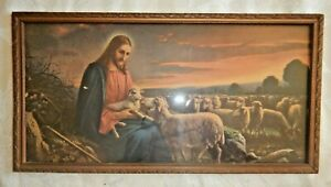 vintage 30s framed print The Good Shepherd Jesus sheep Giovanni Atkinson Fox?