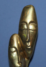 HAND MADE MODERNIST ABSTRACT HEADS BRASS STATUETTE WITH MARBLE BASE