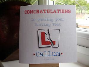 Handmade Personalised Congratulations on Passing Passed Driving Test Card