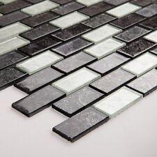 10x10cm Muster Glas Mosaik Wandfliesen Blatt Schwarz und Silber(MT0161 Muster)