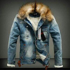 Men Fur Collar Fleece Lined Denim Jacket Casual Winter Warm Biker Outwear Coat
