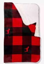 NEW Victorias Secret PINK Cozy Sherpa Blanket Red Plaid Checks Checker Dog Large