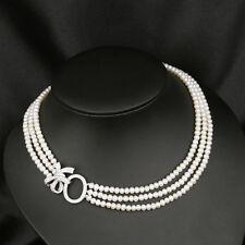 Collier Trois Rang Perle de Culture Argent Massive 925 Noeud Papillon TZ
