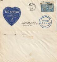 US  13 SEPT 1929 AIR MAIL COVER BIG SPRING TEXAS DEDICATION