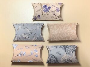 Set Of 5 Handmade Pillow Gift Boxes Blue & Brown Floral