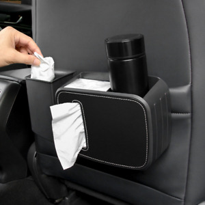 SUV Car Front Seat/Back Tissue Box Beverage Cup Rack ABS Storage Bag Pack Black