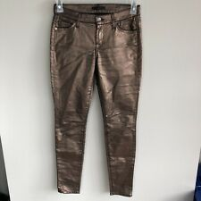 7 For all Mankind Women's Size 25 Bronze Metallic Mid Rise Skinny Jeans