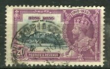 HONG KONG; 1935 early GV Silver Jubilee issue fine used 20c. fair Postmark