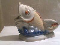 Fisch Antike UdSSR russische PorzellanFigur Serviettenhalter Aschenbecher 1270d