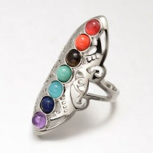 Chakra Stone Ring Wide Band Rings Hollow Platinum Adjustable Size 18mm P13