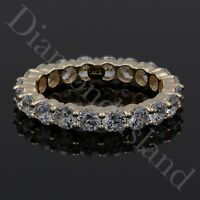 3Ct Created Diamond Round Cut Eternity Wedding Band Ring Solid 14K Yellow Gold
