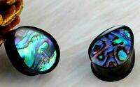 Black Stainless Steel Tear Drop Abalone Inlaid double saddle Plugs