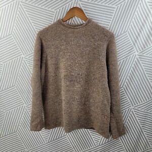 Eileen Fisher Merino Wool Blend Boucle Sweater Size Medium brown Tan Marled