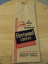 """VTG 1950's """"FLEETWOOD COFFEE"""" Bag for Hotels and Restaurants~"""