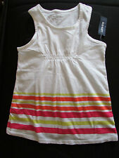 NEW OLD NAVY SIZE SMALL/6-7 WHITE/BRIGHT COLOR STRIPES FRONT SLEEVELESS TOP