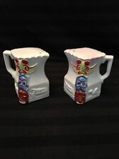 "IAAC Ceramics Japan 3"" Indian Totem Pole Painting Handle Salt Pepper Shakers VGC"
