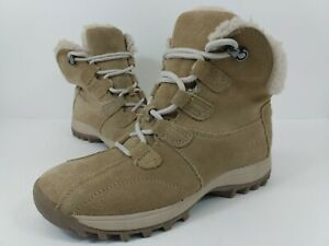 Dr Scholls Dion Women's Tan Suede Winter Snow Ankle Boots Lined Sherpa Size 6
