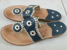 JACK ROGERS NANTUCKET SANDALS NAVY WITH PLATINUM STITCHING SIZE 6