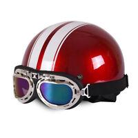 Retro Motorradhelm MOTORRAD HELME Schutzbrillen Halbschale Oldtimerhelm Rot