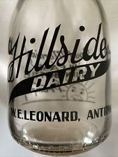 Antique Pyro Hillside Dairy W.E.Leonard Antrim New Hampshire Quart Milk Bottle