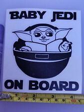 Car Window Decal - Baby Jedi on Board, Baby Yoda Vinyl Sticker, Van Laptop