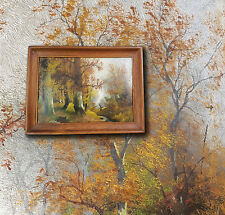 Impressionistisches altes Ölgemälde: Herbstlicher Wald mit Personenstaffage