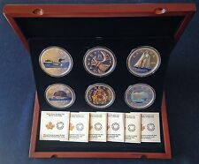 Canada Big Coin Series 2016, set of six 5-oz fine silver coins in wood case