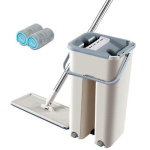 2 Micro Fibre Pad Flat Mop and Bucket Floor Cleaner Set Household Clean Wet Dry