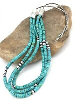 """Native American Navajo Sterling Silver 3S 6mm TURQUOISE HEISHI Necklace 28"""" 1343"""