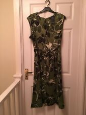 Ladies M&S Linen Rich Jungle Skater Midi Dress Size 18 Regular Green NWT