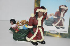 1997 YOUNGS HOLIDAY GIFTS AFRICAN AMERICAN SANTA PULLING GIFTS FIGURINE