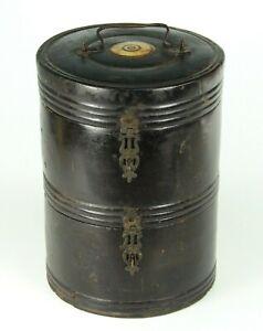 ~RARE Antique 18th c. Edo Japanese Bento Box Ebonized Wood Black Lacquer 2-tier