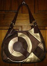 Coach F20032 Inlaid Brass/Chocolate Multi Patchwork Hobo Shoulder Handbag