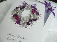 Luxury CHRISTMAS CARD Personalised PURPLE Xmas Wreath 3D Gift Box Greetings