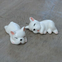2Pcs Dog Puppy Ceramic Chopstick Rest Holder Spoon Fork Stand Dining Tableware