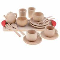 Wooden Tea Set - Tea Pot Tea Cup Teatime Play Toy Kitchen Accessories Kids Toys
